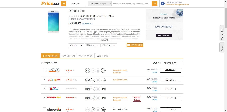 Situs Pembanding Harga Toko Online Priceza