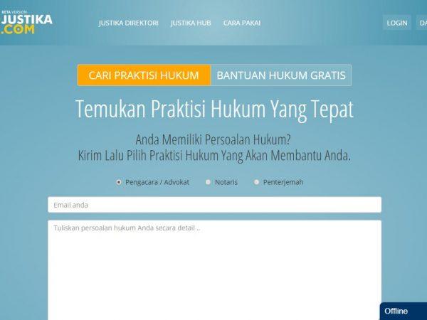 Laman Web justika tempat konsultasi hukum online