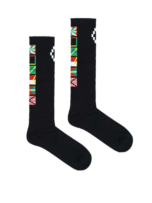 flags long socks with multicolor flags dan white logo print